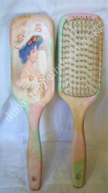 Βούρτσα μαλλιών με τεχνική Decoupage και 3D λεπτομέριες
