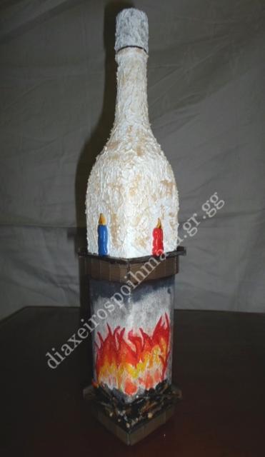 Μπουκάλι με τεχνική Decoupage, ζωγραφική, ξύλο και fimo