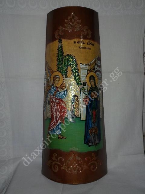 Η Αγία Ειρήνη η Χρυσοβαλάντου - Εικόνα ντεκουπάζ σε κεραμίδι με σμάλτο διακοσμημένη με stencil.