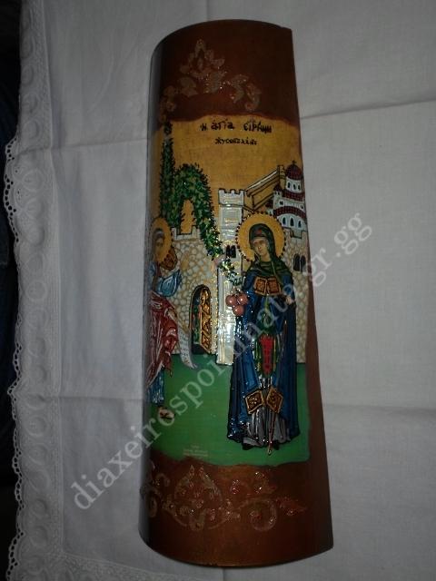 Η Αγία Ειρήνη η Χρυσοβαλάντου - Εικόνα decoupage σε κεραμίδι με σμάλτο διακοσμημένη με stencil.