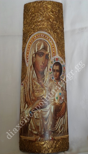 Η Παναγία η Ιεροσολυμίτισσα - Εικόνα decoupage σε κεραμίδι με craquele κ` διακοσμημένη με 3D λεπτομέρειες