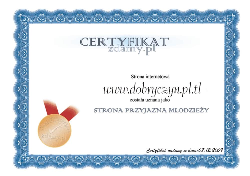 Certyfikat Strony przyjaznej młodzieży