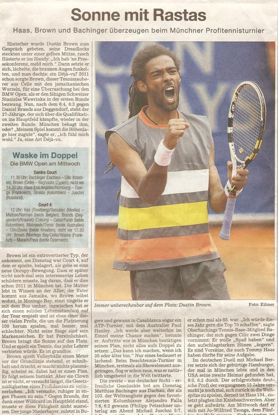 Artikel Süddeutsche Zeitung02. Mai 2012 ATP-Turnier BMW Open München
