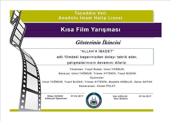 kısa film yarışması, öğrenci,ikinci, başarı belgesi, 2.