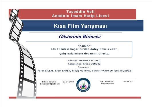 kısa film yarışması, öğrenci, başarı belgesi, 1..