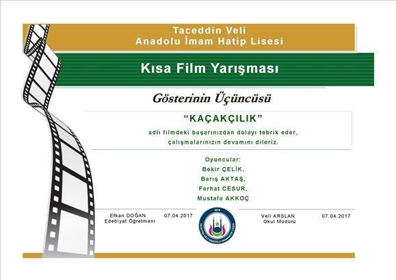 kısa film yarışması, öğrenci, başarı belgesi, lise, 3.