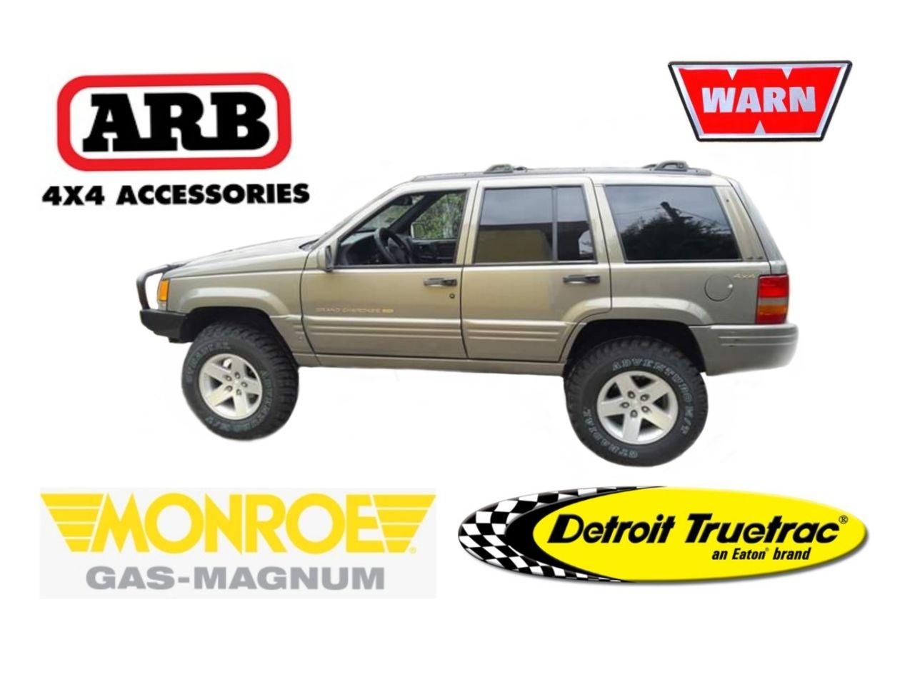 Jeep Grand Cherokee ZJ Monroe Gas Magnum Eaton Detroit TruetracDana Spicer Trac-Lok Moab Wheels ARB Warn  K&N Air Filter Autolite Iridium XP