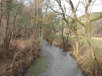 Ein Blick von der Brücke auf die Oberahr bei Ahrdorf