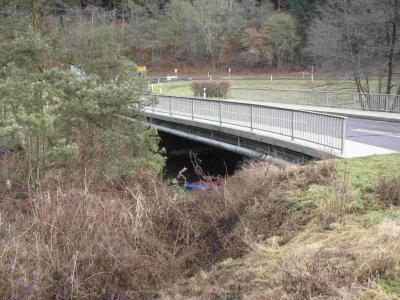Einstieg unter der Brücke der L70 AHRDORF-HILLESHEIM