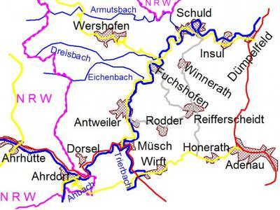 Karte der oberenm Ahr