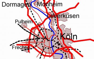 Niederrhein Skizze Köln - Monheim/Rhein