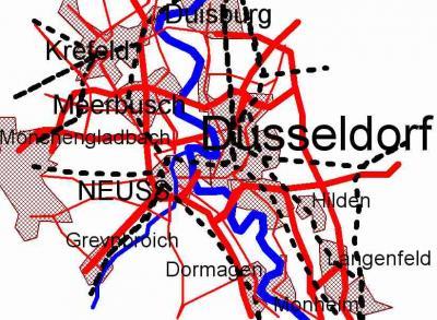 Niederrhein Kartenskizze Monheim - Duisburg