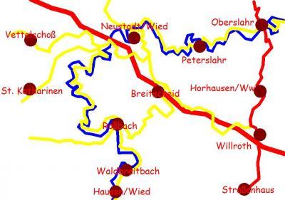 Streckenskizze des befahrenen Flußabschnittes