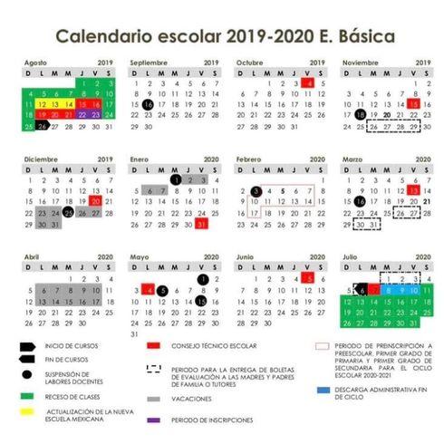 Calendario Escolar 20202020.Escuela Alfredo V Bonfil