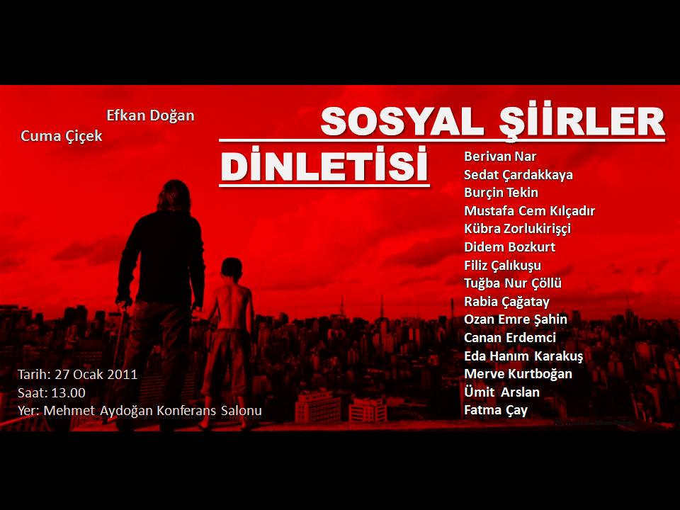 sosyal şiirler dinletisi, şiir afişi, Efkan Doğan, Cuma Çiçek