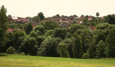 Blick vom Steinberg auf die Kirche