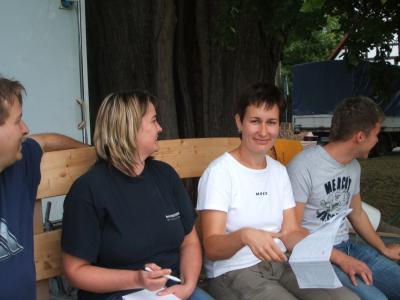 Arbeitsbesprechung mit Sandra, Denise und Steffen