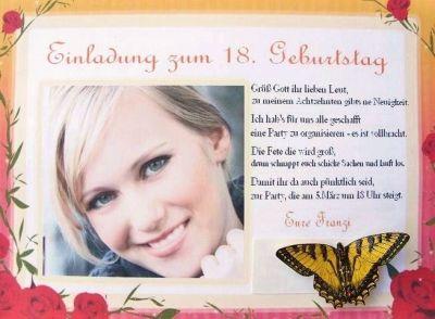 Ich Lade Euch Zu Meinem 18. Geburtstag Ein Und Schicke Euch Diesmal Die  Einladung Per Mail. Liebe Grüße: Franziii