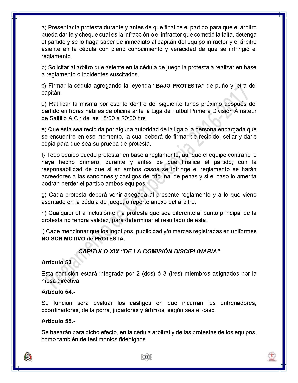 LIGA FUTBOL PRIMERA DIVISIÓN AMATEUR - Reglamento Competencia