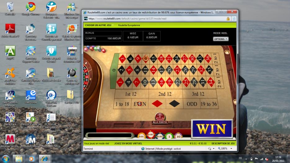 Jeux de la roulette au casino