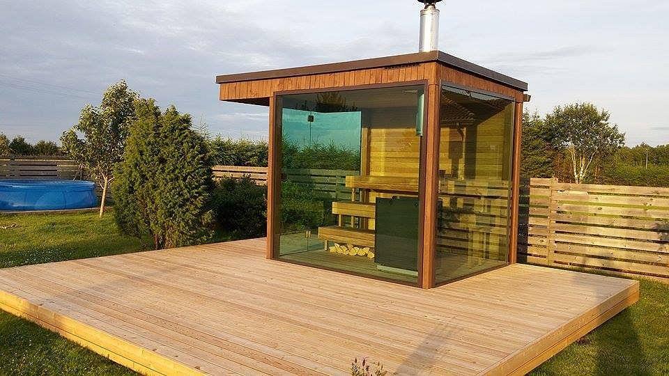 Gartensauna Saunafass Badefass Sauna - Glas Sauna