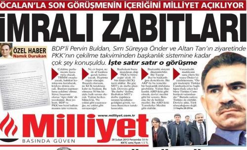28 Şubat 2013 Milliyet Gazetesi Manşetleri İmralı Tutanakları