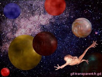 voici notre grenouille au beau milieu d'un système solaire inconnu...