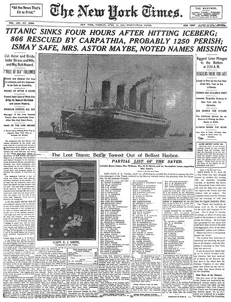 Titanic Sinks The New York Times