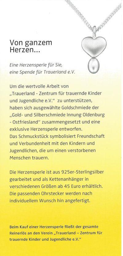 gold und silberschmiede innung oldenburg ostfriesland charityprojekt herzensperle. Black Bedroom Furniture Sets. Home Design Ideas