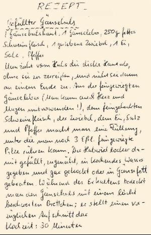 altes, handschriftliches Rezept