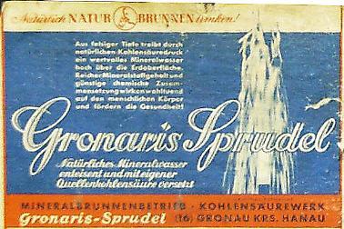 Altes Etikett des Gronaris Sprudel