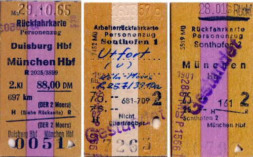 Drei alte Fahrkarten