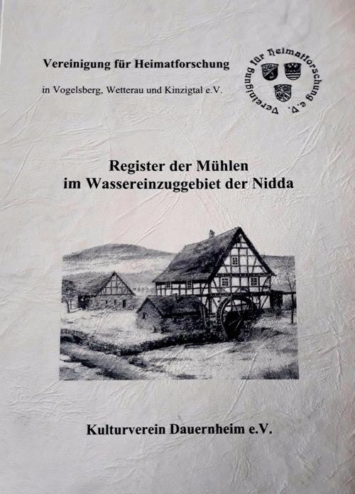 Scan des Deckblatts des 'Registers der Mühlen im Wassereinzugsgebiet der Nidda' des Kulturvereins Dauernheim e.V.