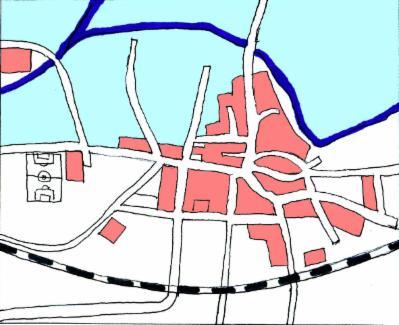 Gezeichnete Karte des alten Gronaus mit überfluteten Flächen