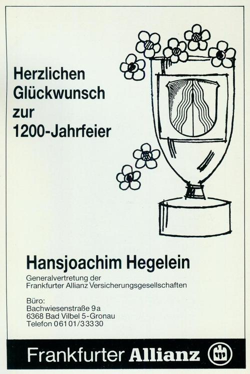 Werbeanzeige der Allianzvertretung Hansjoachim Hegelein