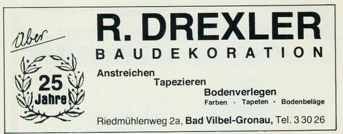 Werbeanzeige Baudekoration R. Drexler