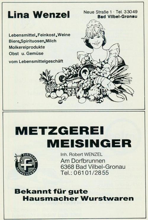 Werbung der Firmen Lebensmittel Lina Wenzel und Metzgerei Meisinger