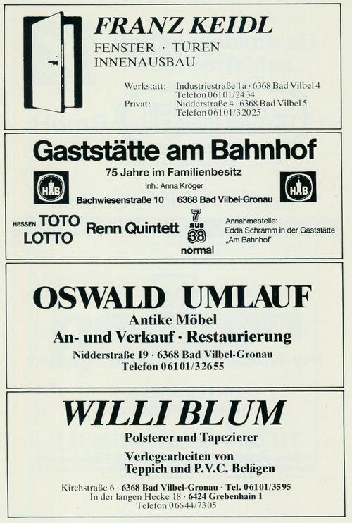 Werbung der Firmen Fenster, Türen, Innenausbau Franz Keidl, Gaststätte am Bahnhof, Oswald Umlauf, Antike Möbel und Polsterer und Tapezierer Willi Blum.