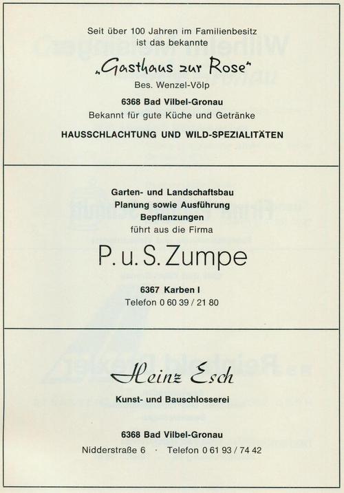Werbeanzeige der Firmen Gasthaus zur Rose, Garten- und Landschaftsbau P.u.S. Zumpe und Kunst- und Bauschlosserrei Heinz Esch