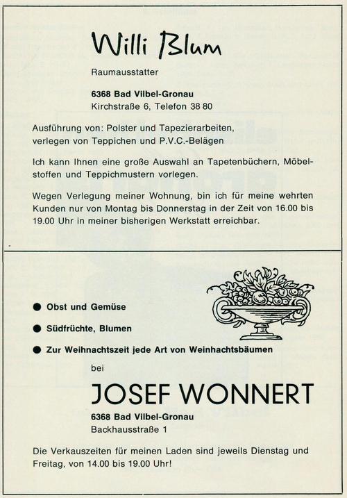 Werbeanzeige der Firmen Raumausstattung Willi Blum und Obsthandel Josef Wonnert