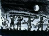 Zeichnung von Kindern in der Nacht, unterwegs mit einem Boot über den Köpfen getragen