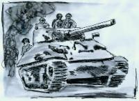 Zeichnung eines Panzers mit Soldaten