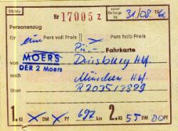 Fahrkarte mit handschriftlichen Eintragungen