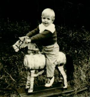 Ein Kind auf einem Holzpferd