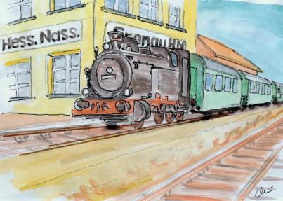 Zeichnung eines Zuges mit Dampflok