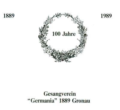 Titelblatt der Festschrift mit den Jahreszahlen 1889 und 1989 und der Angalbe 100 Jahre in einem Kranz
