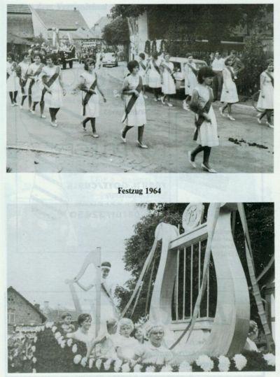 Alte Fotos mit Kindern auf einem Festumzug und einem geschmückten Wagen
