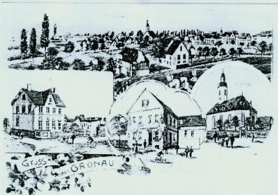 Ansichtskarte mit Zeichung von Häusern