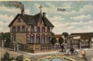 Historische Zeichnung des alten Schulhauses