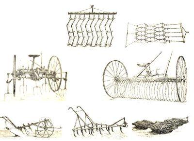 Zeichnung verschiedener altertümlicher Ackergeräte